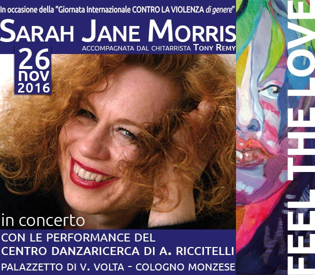 Appuntamento 26 novembre Sarah Jane Morris e Centro Danzaricerca