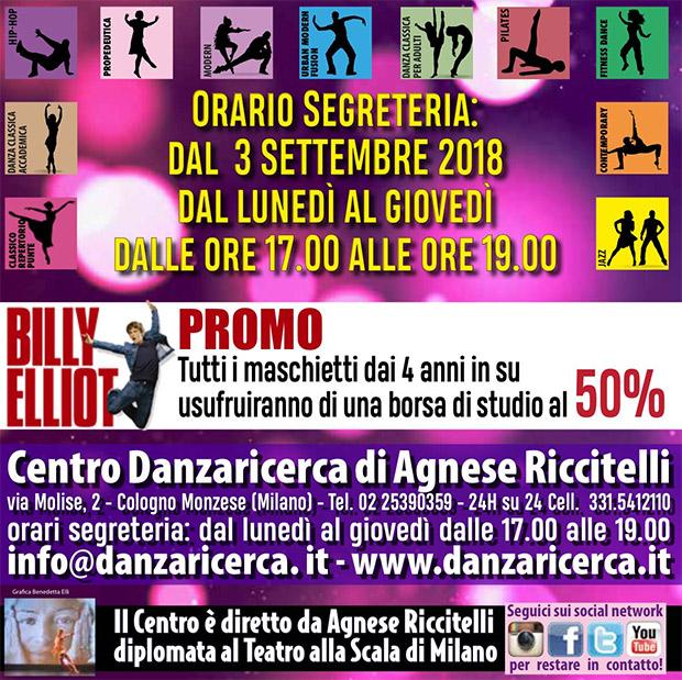Centro Danzaricerca, iscrizioni 2018 dal 3 settembre, promo billy elliot borsa di studio